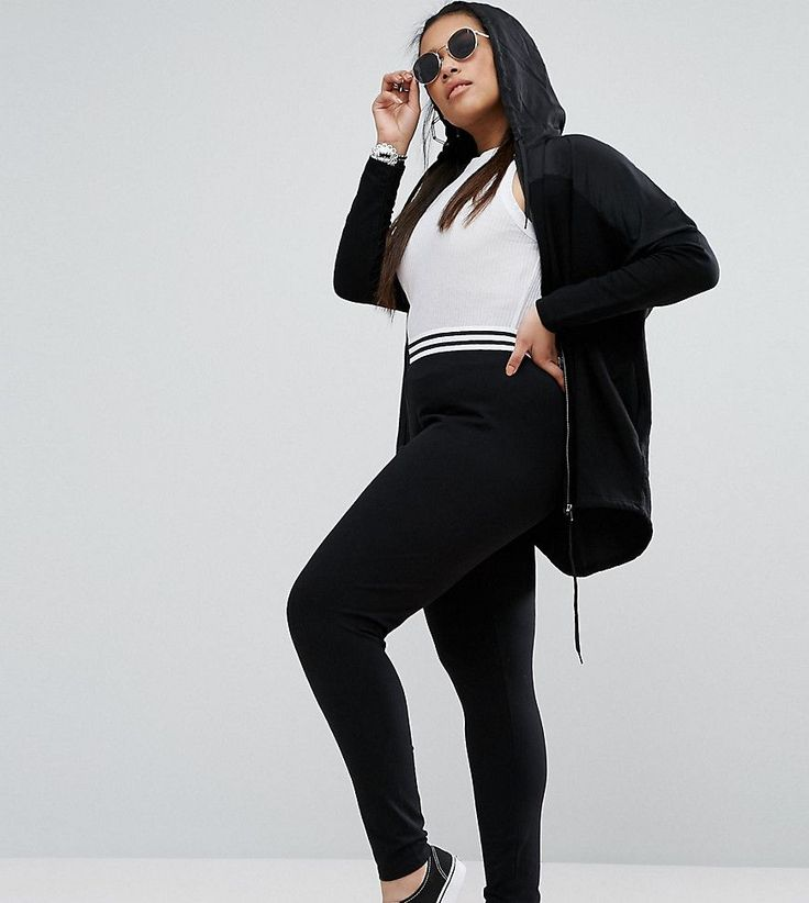 ASOS CURVE Legging With Tipped Elastic Waistband - Black