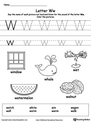 **FREE** Words Starting With Letter W Worksheet. Teach the beginning letter sound by saying the name of each picture and then allow your child to trace the uppercase and lowercase letter W in this printable activity worksheet.