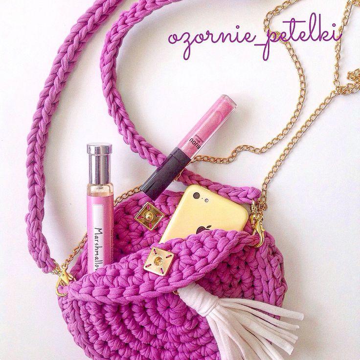 Купить Вязаная круглая сумка с кистью - вязаная сумка, вязаная сумочка, трикотажная пряжа, сумка