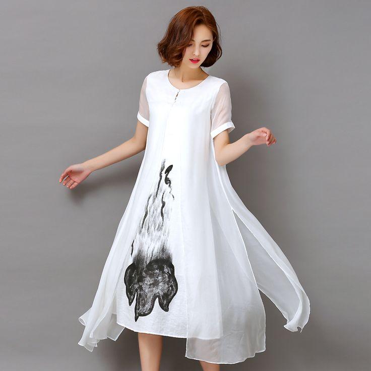 Fashion2017 neue sommer weiß schwarz tintendruck frauen lange dress retro kurzarm baumwolle leinen designs freizeitkleider dünne