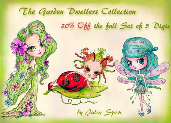30% OFF The full Set of 5 Digital Stamps Coloring by JuliaSpiri