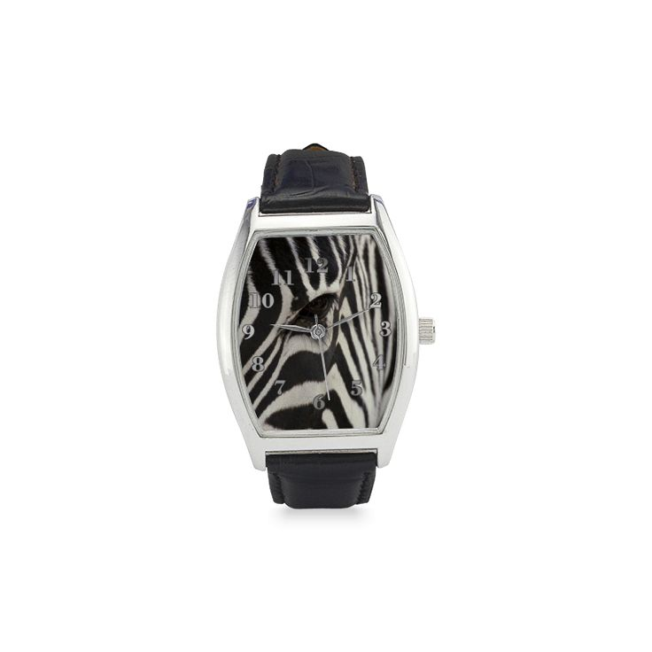 Zebra Barrel Style Leather Strap Watch. FREE Shipping. #artsadd #watches #zebra