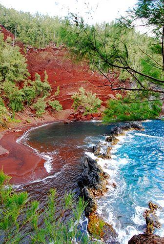 Red Sand Beaches on the coast of Hana, Maui