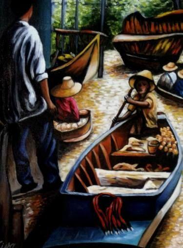 "Saatchi Art Artist Dan Civa; Painting, ""Floating Market, Bangkok, Thailand - No.C."" #art"