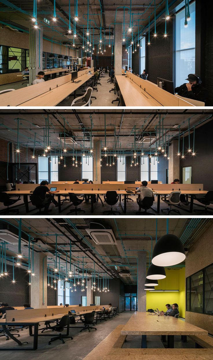 Creative partition ideas courtesy interior architect mohamed amer - Interior Decor Idea Turquoise Electrical Conduit Is A Design Feature Running Through This Co Working Office Space