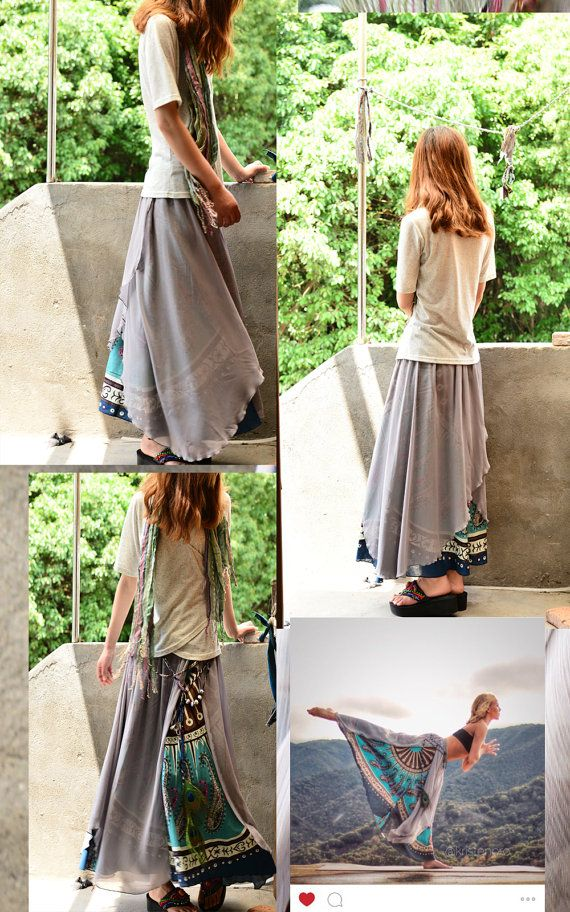 Nepalese sari cotton chiffon maxi skirt Q1106 by idea2lifestyle