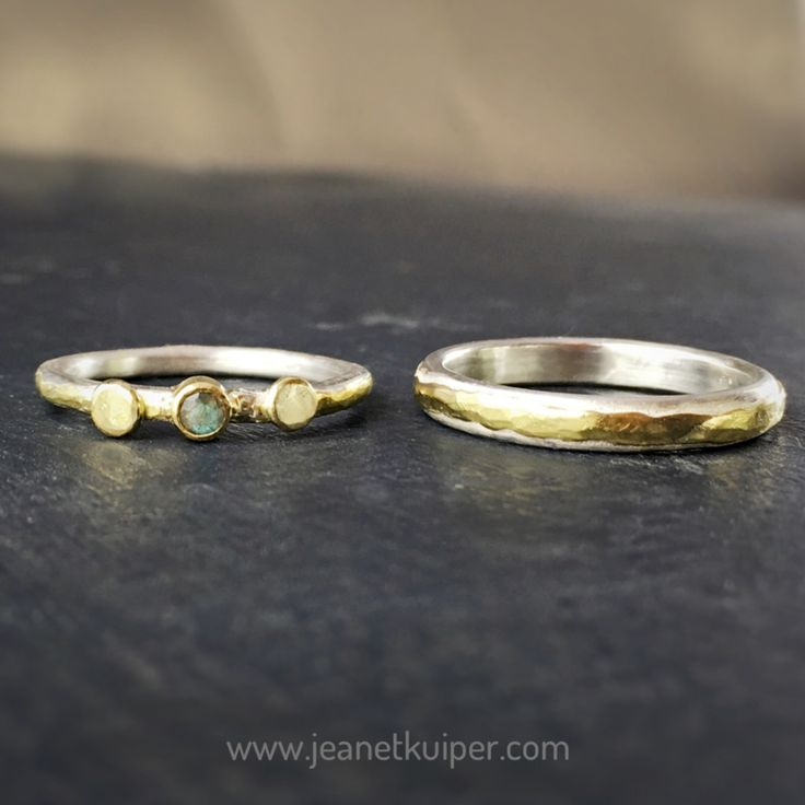 wedding rings silver gold labradorite