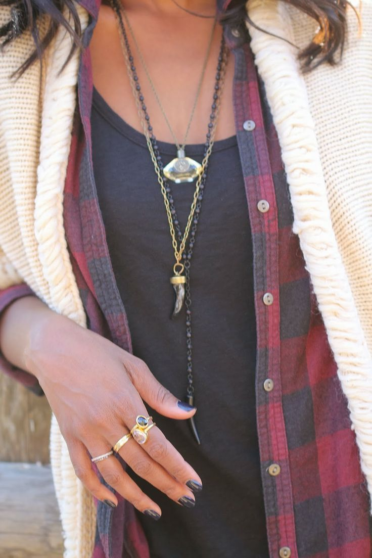 Layered cream cardi over black/red plaid shirt and black tee. The necklaces really finish the look.