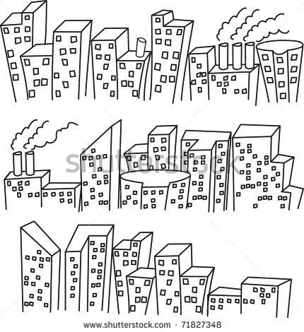 skylines 1 or 2 point perspective using students name as top of building