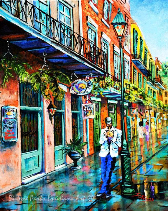 Jazz Street Music, New Orleans French Quarter Art Print, New Orleans Art, Jazz Painting Print, New  Orleans Souvenir Gift FREE SHIPPING!
