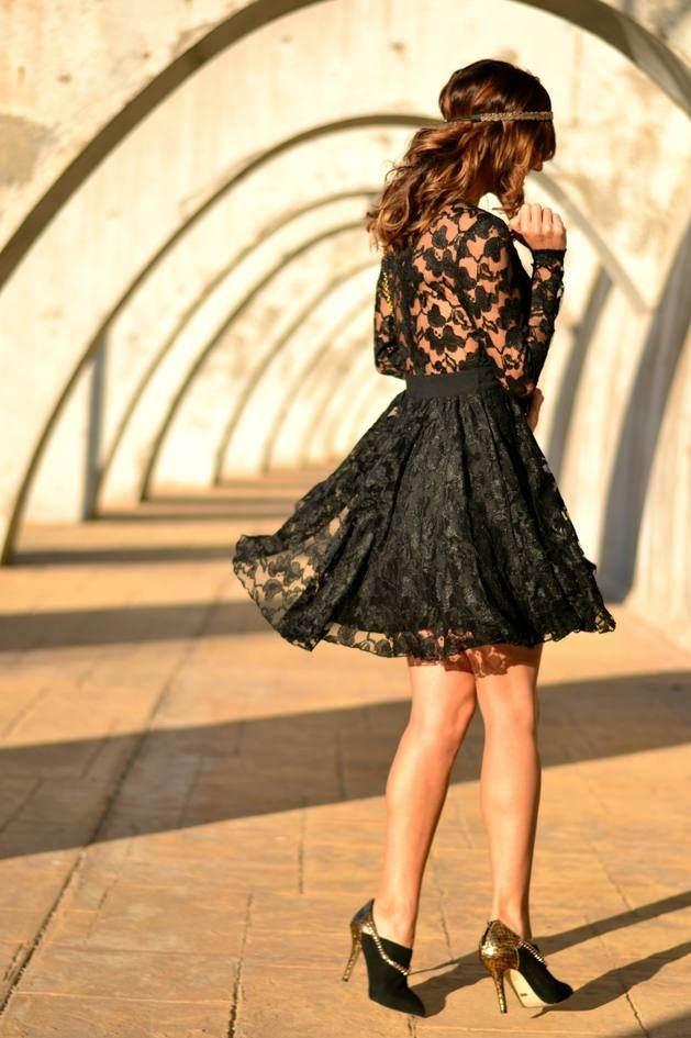 Lace Party Dress In Black - Beautiful Clothes Photo