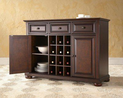 Crosley Furniture Alexandria Buffet Server Sideboard Cabinet With Wine Storage Vintage Mahogany