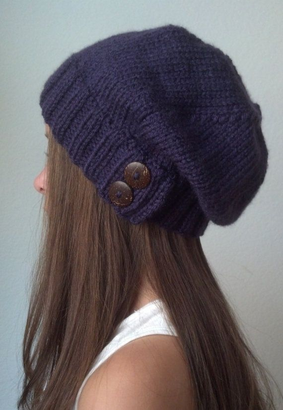 Knit slouchy hat with button/s - PURPLE (more colors available - made to order)