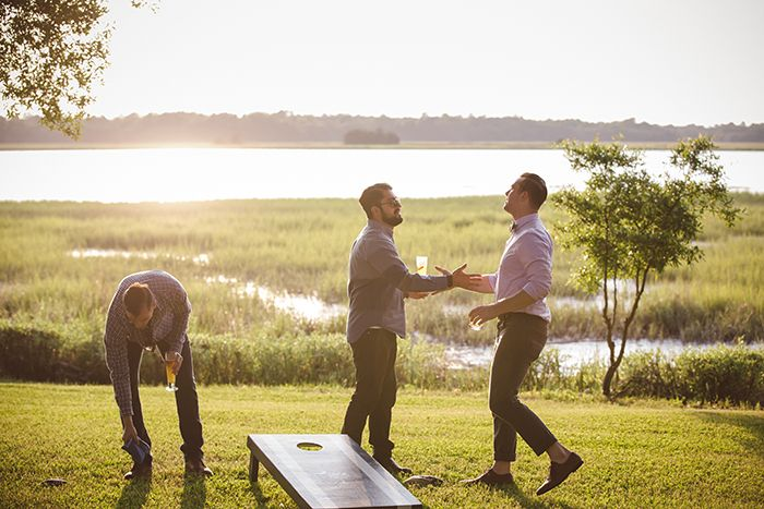 Lawn games at The River House in Charleston, South Carolina | Welcome reception…