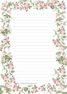 Lined stationery with border of flowers