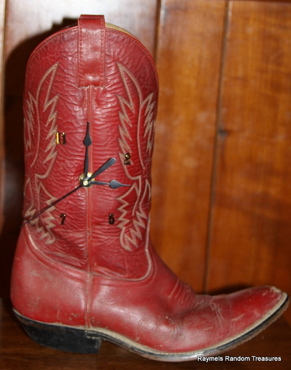 Western Red Leather Cowboy Boot Clock recycled leather by RayMels, $24.50