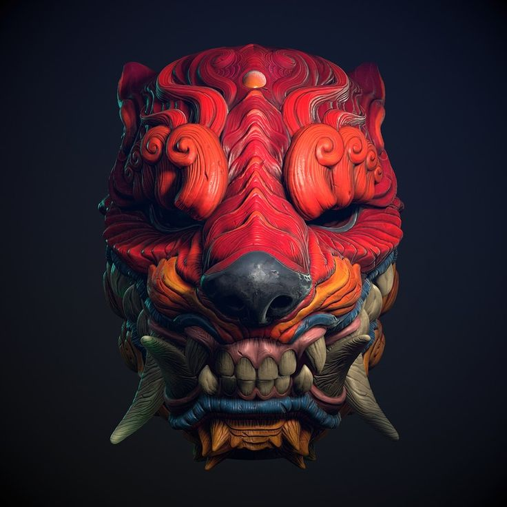 Orcish Mask, by Wan Chao https://www.artstation.com/artwork/vB9Y3 #SubstancePainter #ThisIsSubstance