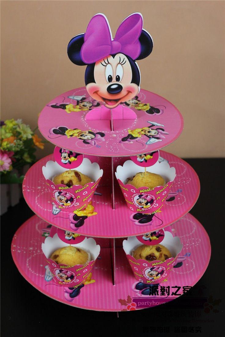 Минни маус ну вечеринку торт стенд держатель картон бумага для детей день рождения ну вечеринку украшения поставки