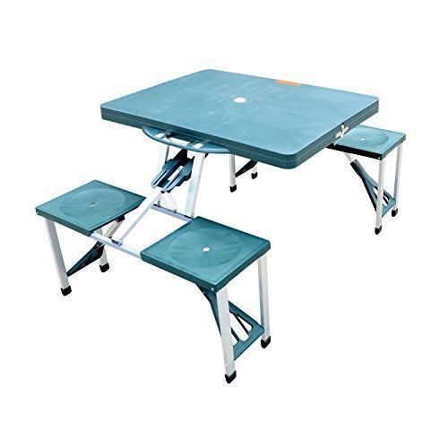 Portable Table For Camping Garden Picnic Durable Plastic 4 Chairs Foldable   #OutdoorPortableTable