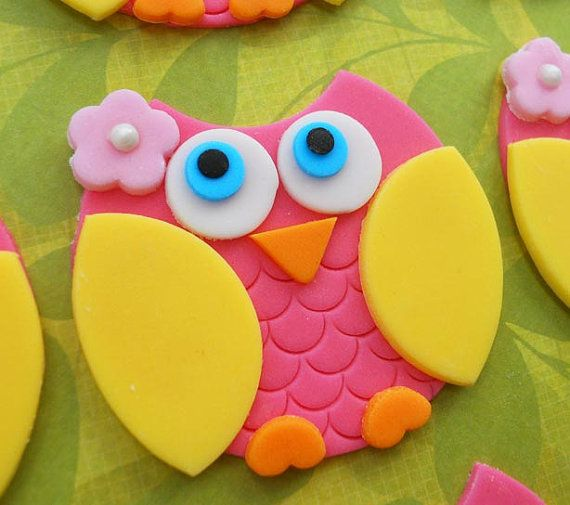 12 PINK and YELLOW OWL Edible Cupcake Toppers by SWEETandEDIBLE