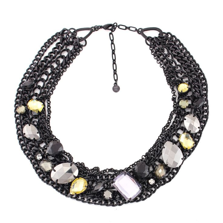 Black-Tone Metal Chain Multi Color Crystal Necklace