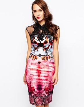 Multicolor Stain Floral Print Sheer Back Forever Unique Mandarin Collar Pencil Dress with Lace Neck @ ASOS $475