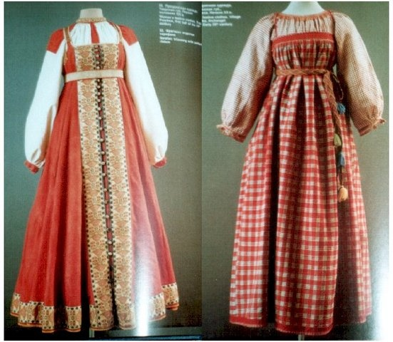 Text from the website Sarafan (Russian: сарафан, from Persian sеrāрā) is a traditional Russian long, shapeless jumper dress (pinafore) worn as Russian folk costume by women and girls. Chronicles first mention it under the year 1376, and since that time it was worn well until the 20th century.
