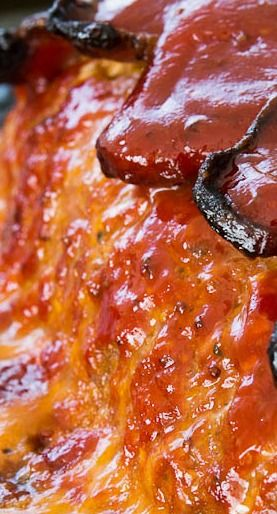 Best Meatloaf with Thick Cut Bacon, Honey, Gruyere Cheese, and Garlic ~ Sounds So Good!!