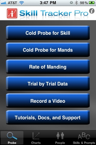 Skill Tracker Pro ($29.99) Skill Tracker Pro automates ABA therapy (Applied Behavioral Analysis) instruction for children with Autism. For iPhone, iPod Touch and iPad and from the makers of Behavior Tracker Pro! STP allows unlimited clients and observers, optional video capture and charting/export of all data.