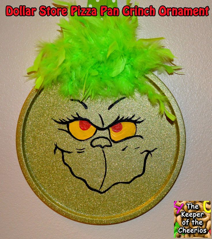 Dollar Store Pizza Pan Grinch Ornament