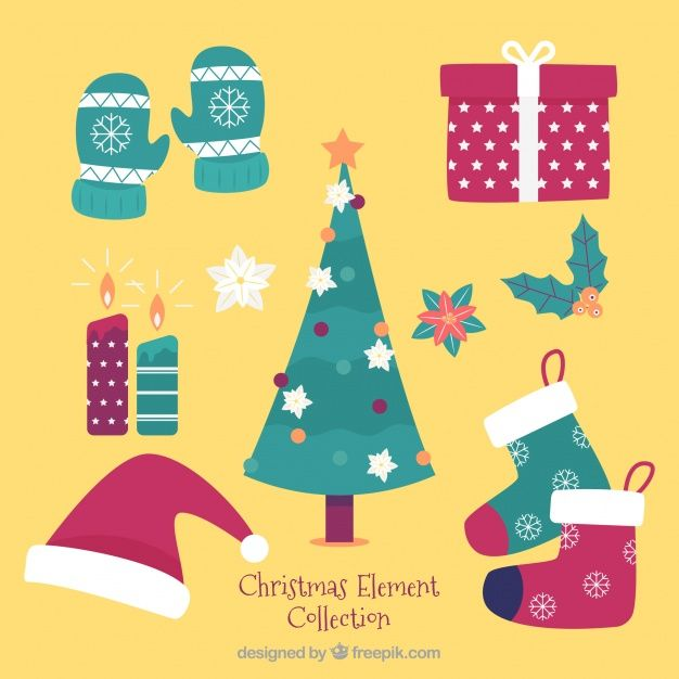 Download Lovely Pack Of Christmas Elements For Free Christmas Vectors Christmas Design Christmas