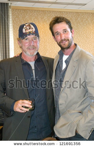 stock photo : SAN DIEGO, CA - JULY 13: Will Patton and Noah Wyle arrive at the 2012 Comic Con convention press room at the Bayfront Hilton Hotel on Friday, July 13, 2012 in San Diego, CA.