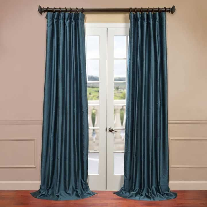 EFF Solid Yarn-Dyed Faux-Dupioni Silk Window Curtain