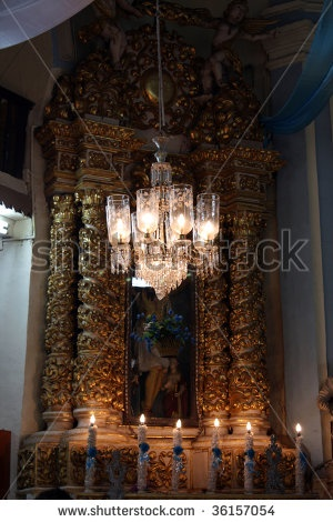 Image Detail For  Stock Photo : A Beautiful Antique Chandelier In A Church  In Goa
