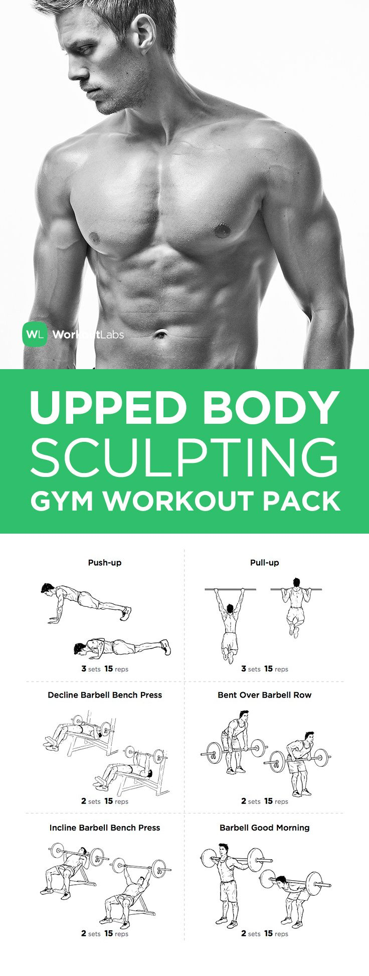 FITNESS - Visit https://WorkoutLabs.com/workout-packs/upper-body-sculpting-gym-workout-pack-for-men-women to download this Upper Body Sculpting Gym Workout Pack for Men & Women