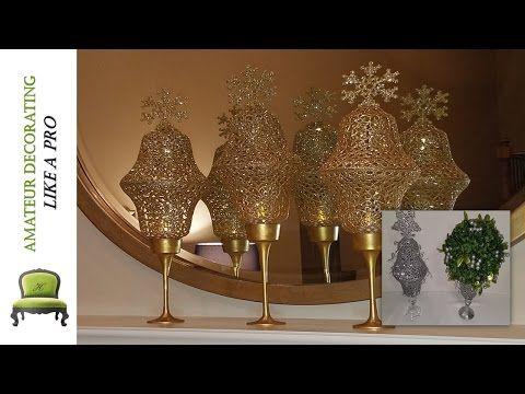 (2) DIY Dollar Tree Dollar Tree Glitter Lanterns & Glitter Reindeer On Canvas - YouTube