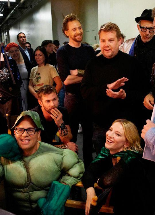 'Thor: Ragnarok' Cast Performs Live Version of the Movie for James Corden!. Link: http://www.justjared.com/photo-gallery/3981689/thor-ragnarok-cast-performs-a-live-version-of-the-movie-for-corden-09/
