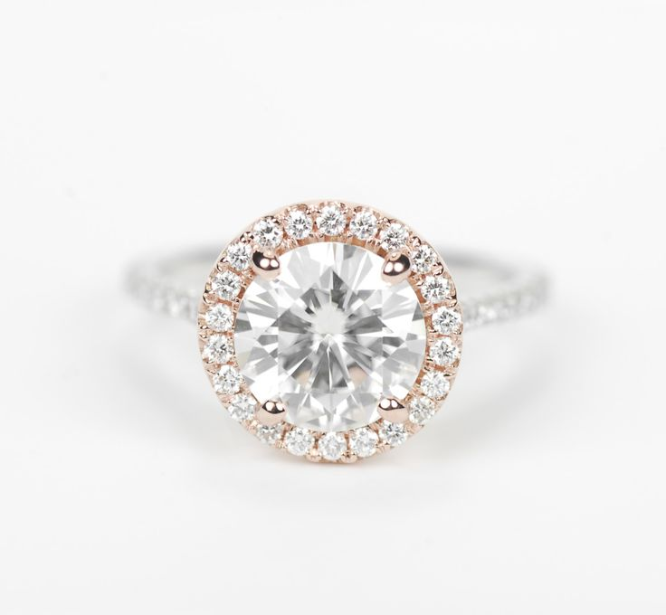 Certified Two Tone Round Forever Brilliant Moissanite