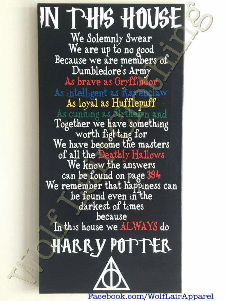 In This House We Do Harry Potter Canvas, Hand made by Wolf Lair Clothing. order ...