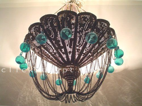 Antique Style Large Chandelier W/Turquoise Glass Balls