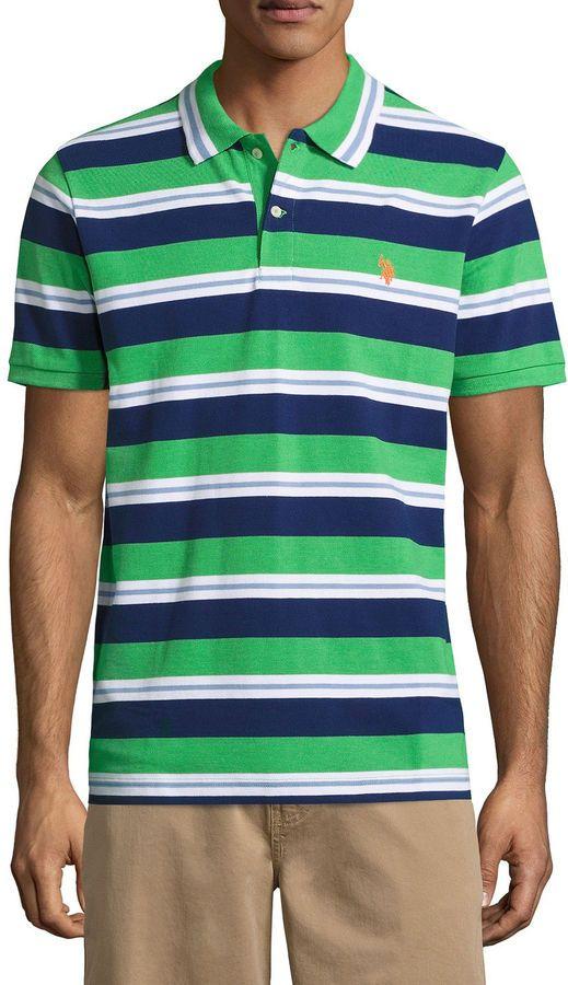 USPA U.S. Polo Assn. Embroidered Short Sleeve Stripe Pique Polo Shirt