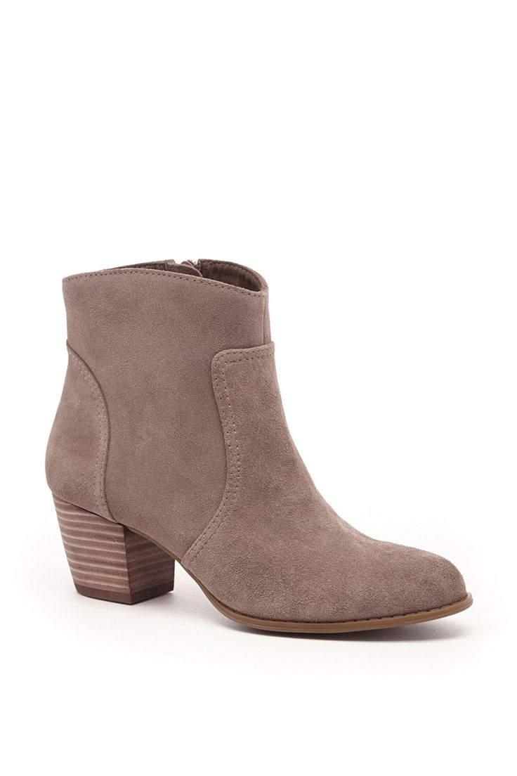 Taupe suede ankle bootie with a Western-inspired design and comfortable stacked heel: