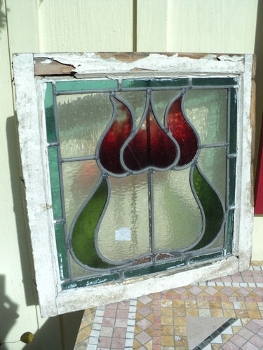 Antique Victorian Tulip Stained Glass Stainedglass Leaded Window Red Green B | eBay