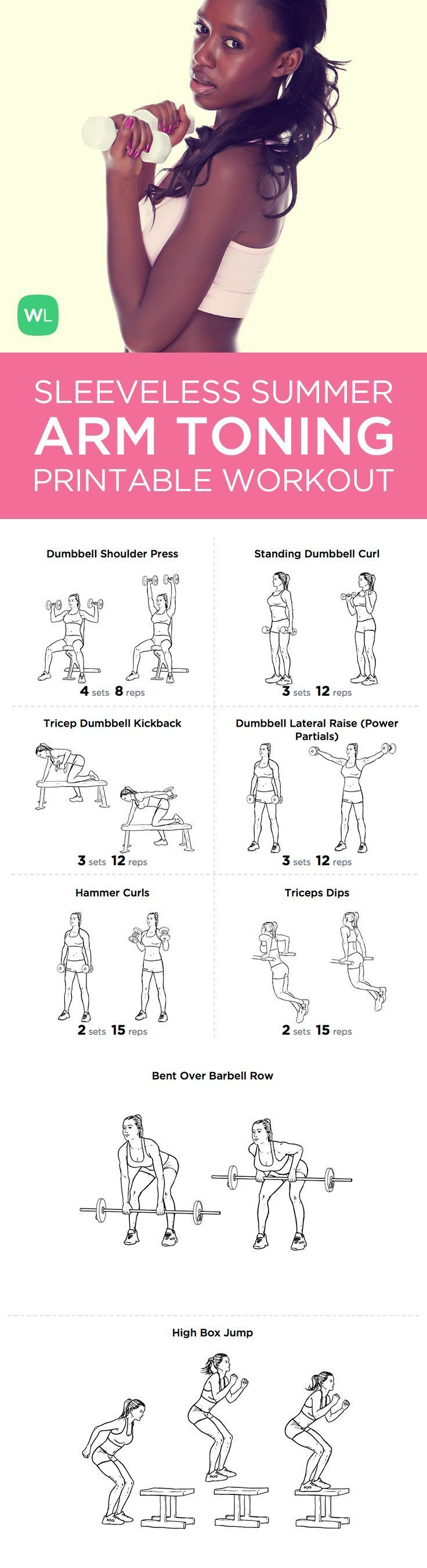 15-minute Summer Sleeveless Arms Toning printable workout with exercise illustrations.