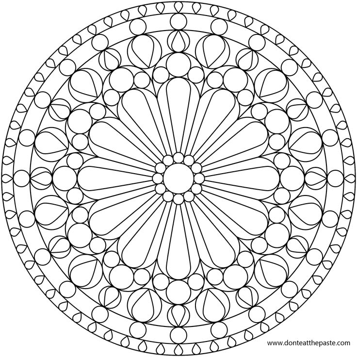 Flower Mandala Picture To Color Stained Glass Window Coloring Pages Pattern