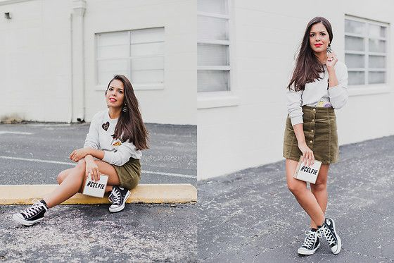 Get this look: http://lb.nu/look/8157405  More looks by Nydia Enid: http://lb.nu/agirlnamednydia  Items in this look:  Forever 21 Patches Pullover   #casual #sporty #street #forever21 #asos #spring #patches #converse