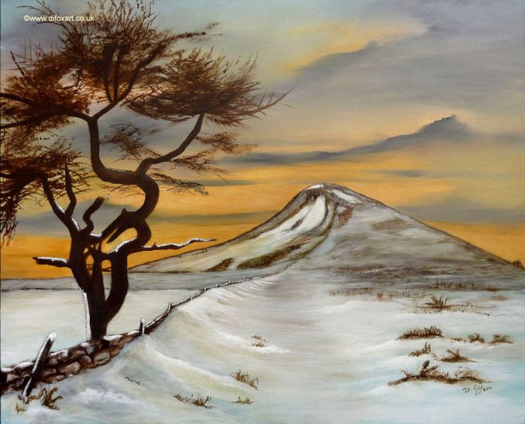 Painting of crooked tree by Roseberry Topping in Yorkshire. by Di fox