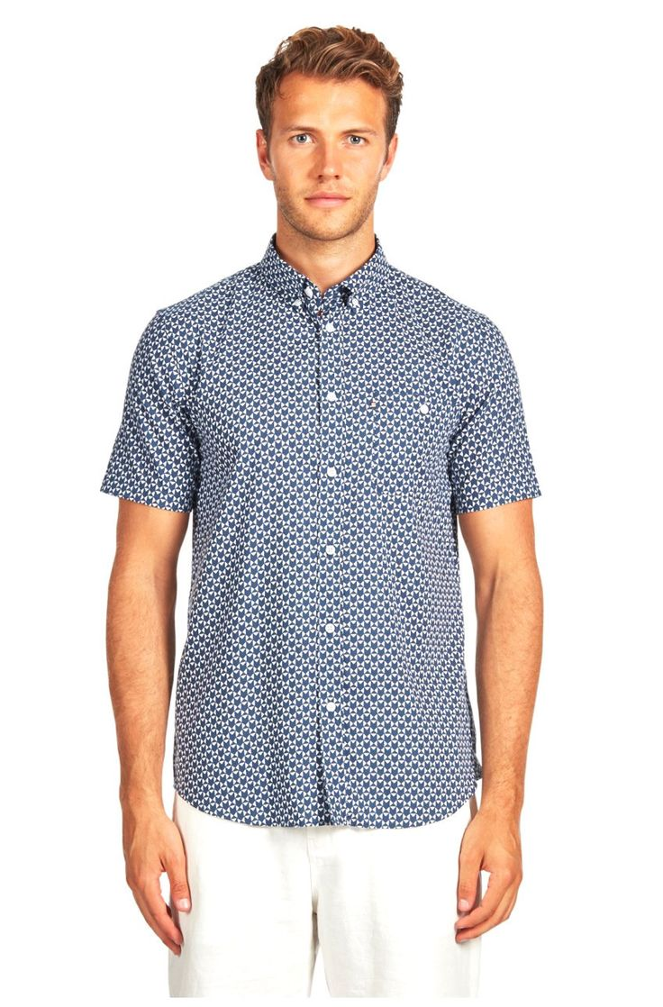The Academy Brand - Geo S/S Shirt - Blue/White