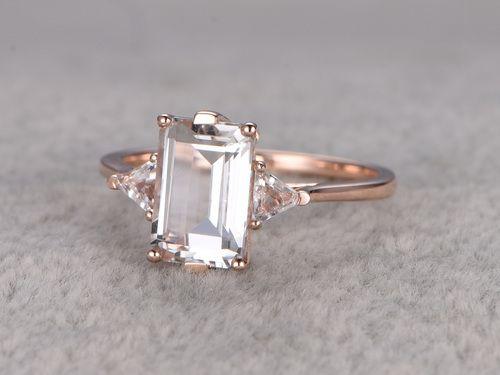 6x9mm Emerald Cut White Topaz Engagement Ring Trillion Cut Topazs Wedding Ring 14K Yellow Gold
