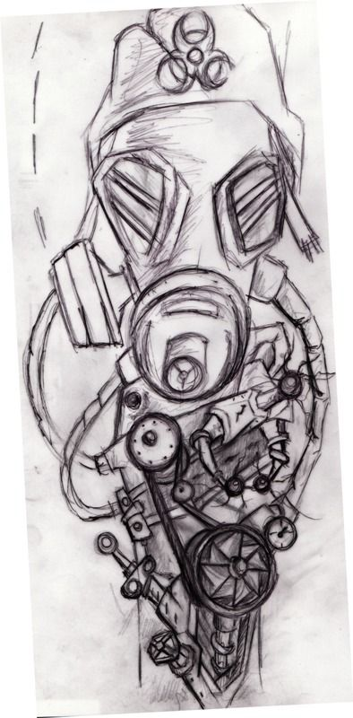 Image result for steampunk gas mask tattoo